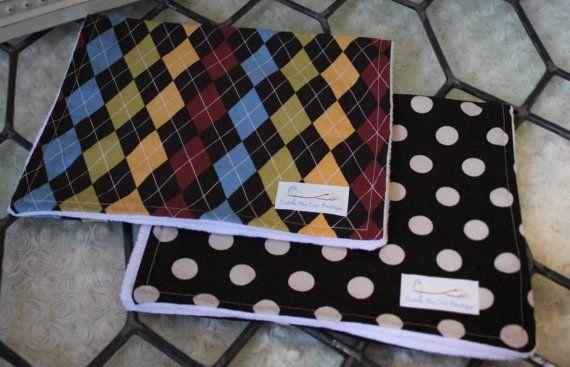 Handmade Burp Cloths Set of 2 Polka Dot