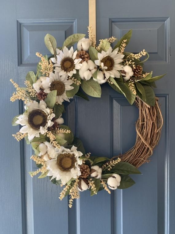 Photo of Summer Wreath-Sunflower Wreath-Fall Wreath-Rustic Home Decor-Fromt Door Wreath-Sunflower Decor-Wreaths