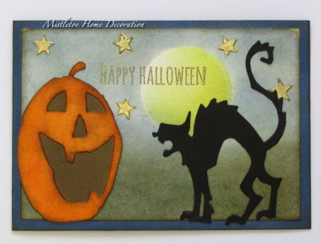 Hallo Halloween Decoraties : Halloween card with jack o lantern and black cat sizzix dies by