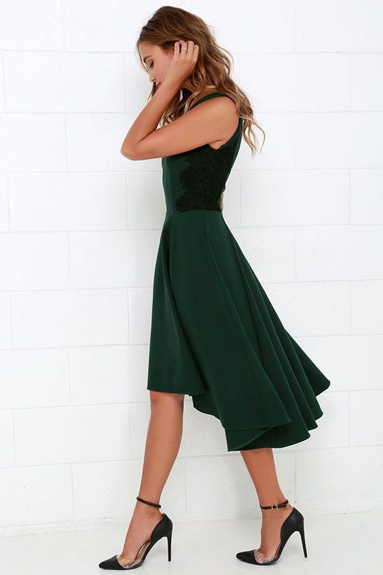 Hazel Room Service Dark Green Lace Midi Dress | Schonen, Mädchen und ...