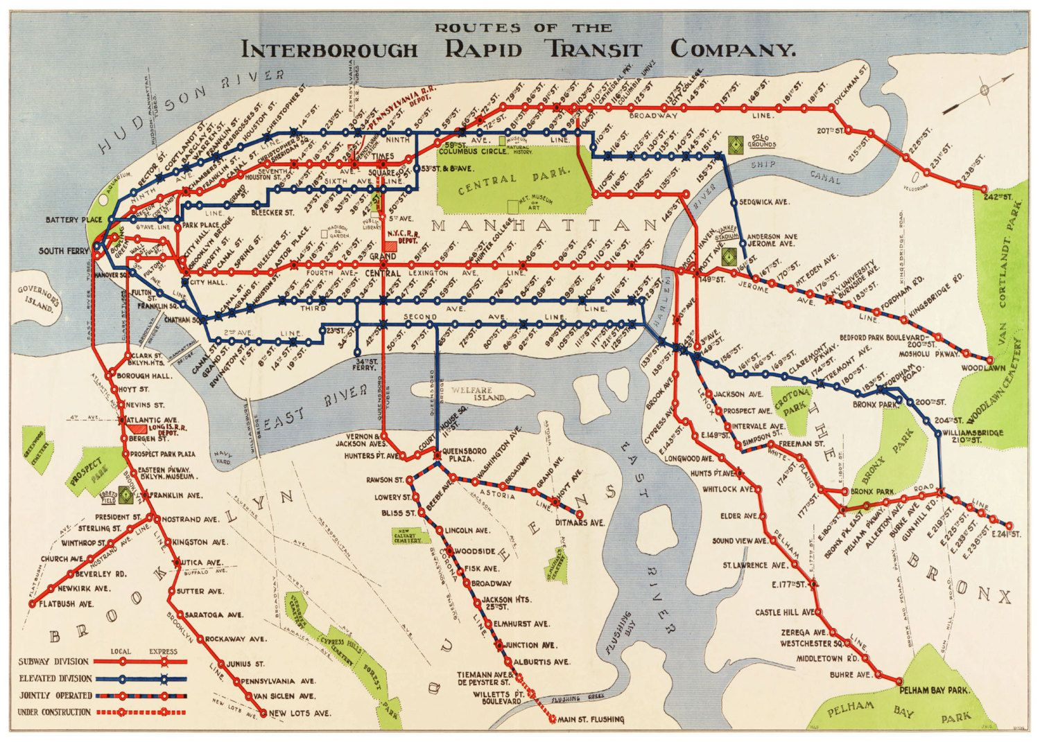Old New York City Subway Map Showing The Old 3rd Ave And 2nd Ave