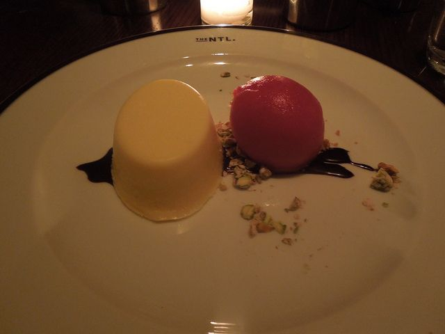 the national, ricotta cheesecake with blood orange sorbet, pistachios, chocolate