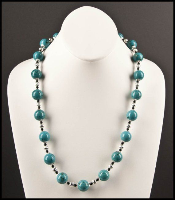 Turquoise Bead Necklace by floweravenue on Etsy, $30.00