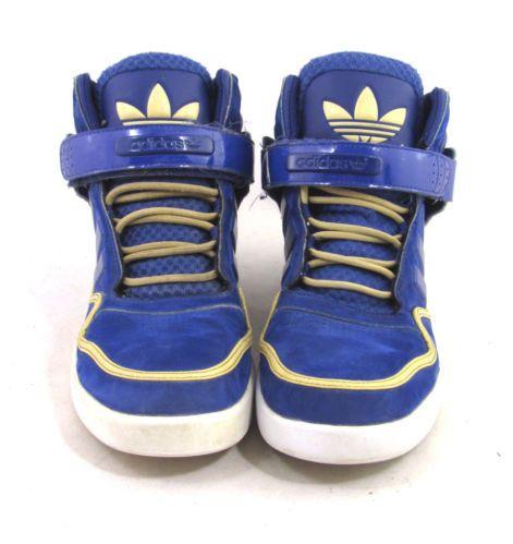 1ba96486e88 RARE Adidas Blue Yellow Tan Suede High Hi Top Velcro Logo Sneakers 9 5 EVM  Shoes