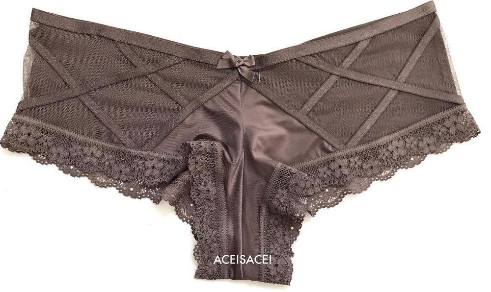 d0cb6d19e5 NWT Victoria s Secret SEXY SILKY MESH STRAPPY FRONT CHEEKY PANTY--DARK