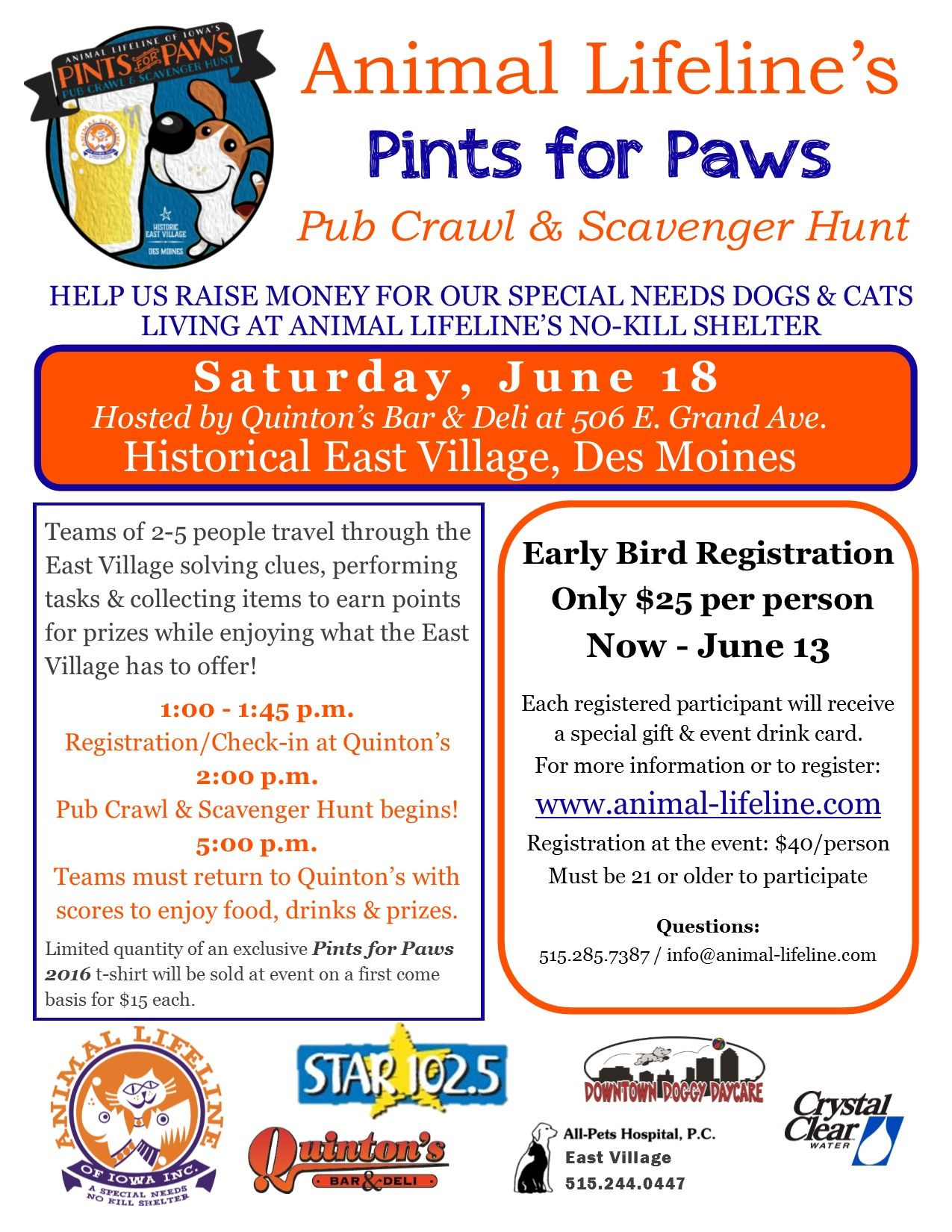 Pints For Paws Pub Crawl Scavenger Hunt Was A Huge Success For 2016 Raising Over 5 500 For Special Needs Dogs A Pub Crawl Special Needs How To Raise Money