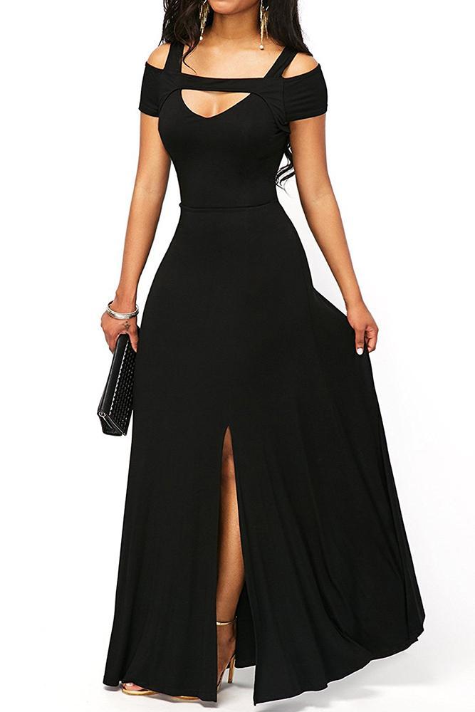 5528a53f51 Cold Shoulder Front Slit Flare Black Maxi Dress modeshe.com ...