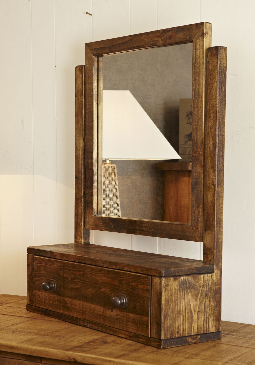 Rugged Swing Mirror In Chunky Rustic Pine. Table Top Mirror, With Drawer.  Available