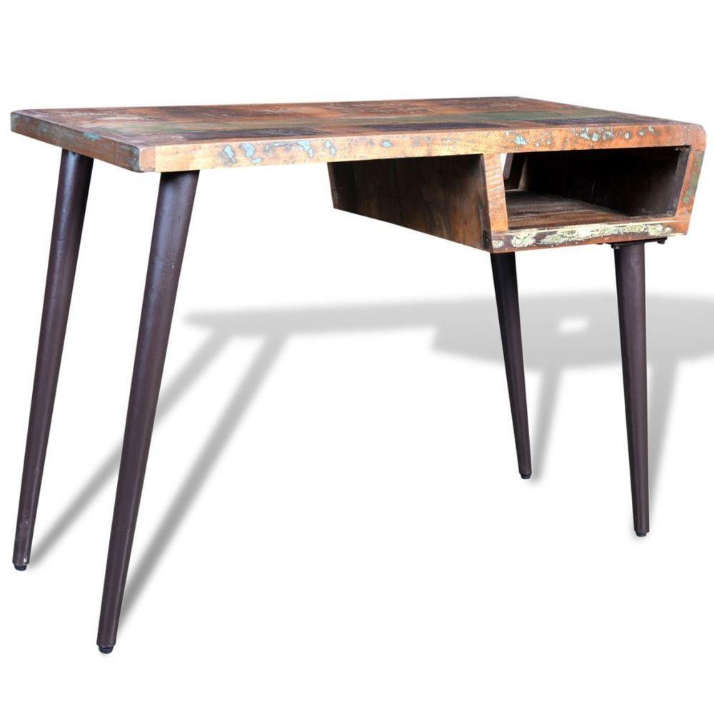Reclaimed Wood Desk Shelf Storage Waxed