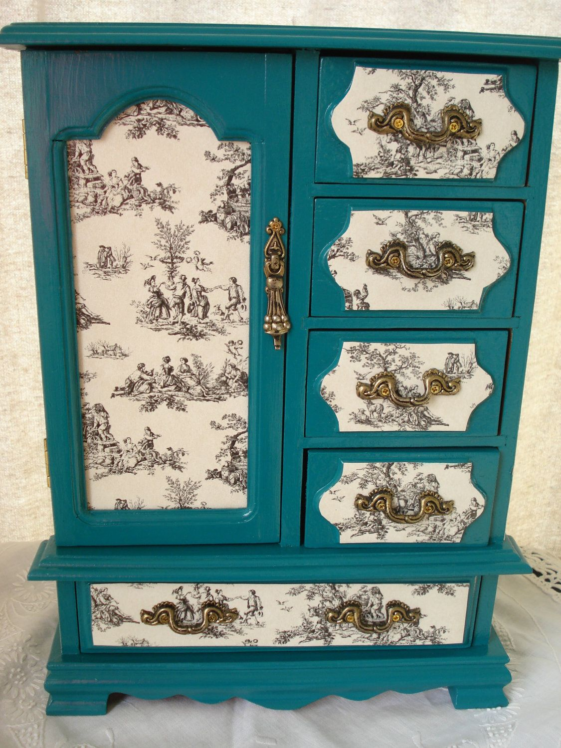 Vintage Hand Painted And Decoupaged Teal Toile Upcycled Jewelry Box