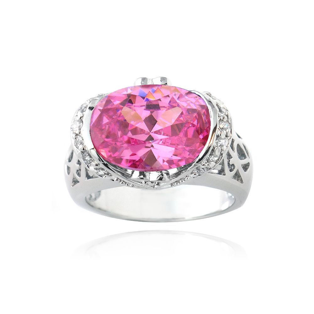 Icz Stonez Sterling Silver 6ct TGW Pink Cubic Zirconia Ring (Size 8), Women's, White
