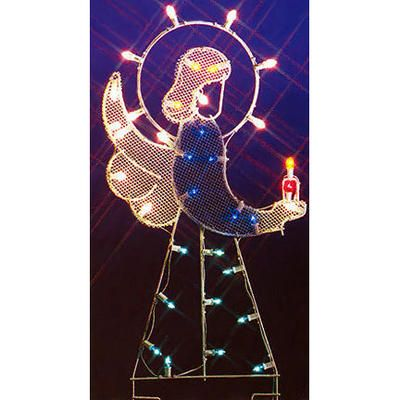 Wire-Frame Angel Lighted Silhouette Shape Whole Foods Glitter - outdoor angel christmas decorations