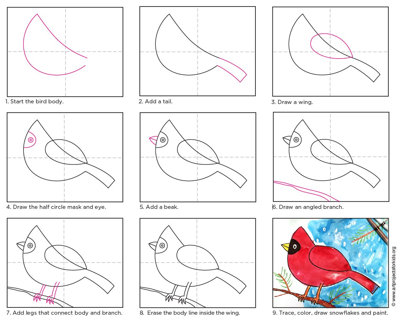 Draw a Cardinal · Art Projects for Kids
