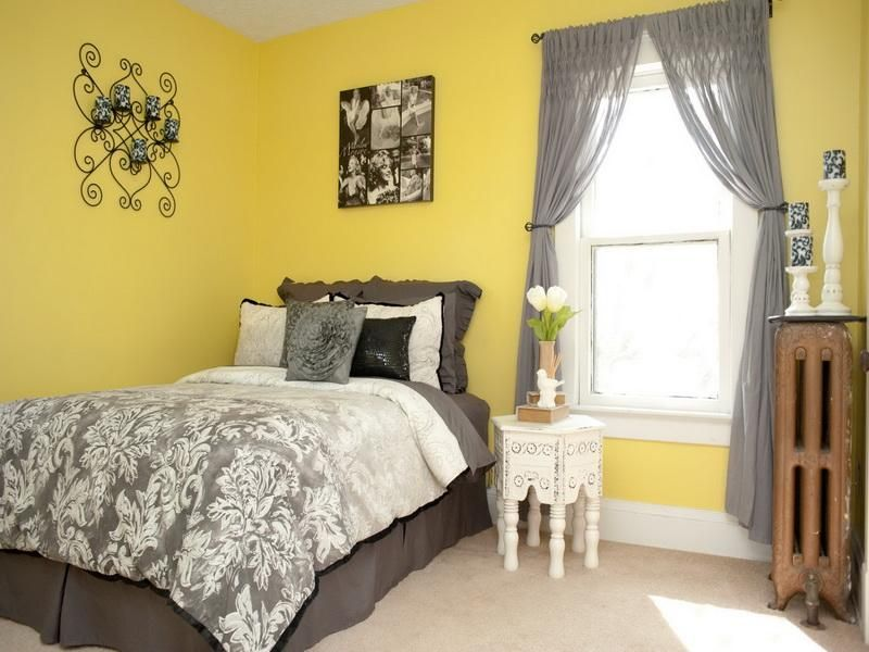 Bedroom. Outstanding Design Of Yellow Bedroom Design With Grey Curtain  Window Plus Grey Bed Sheet