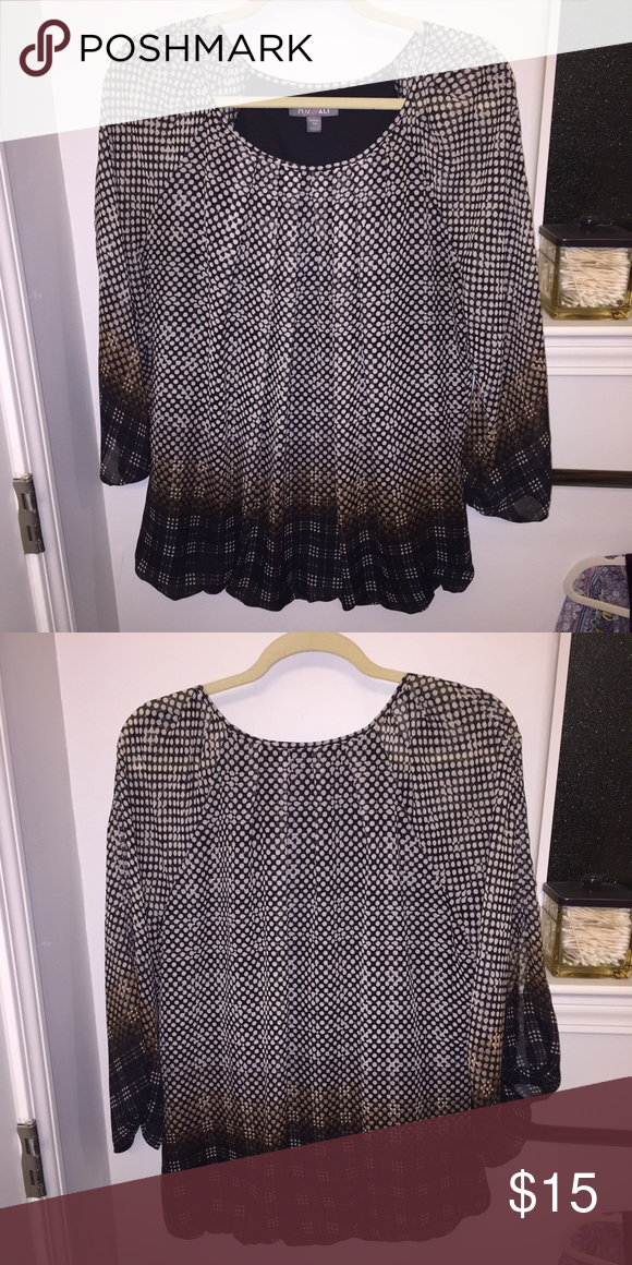Long sleeve blouse Very pretty blouse with white dots. Fades into brown. Never been worn Tops Blouses