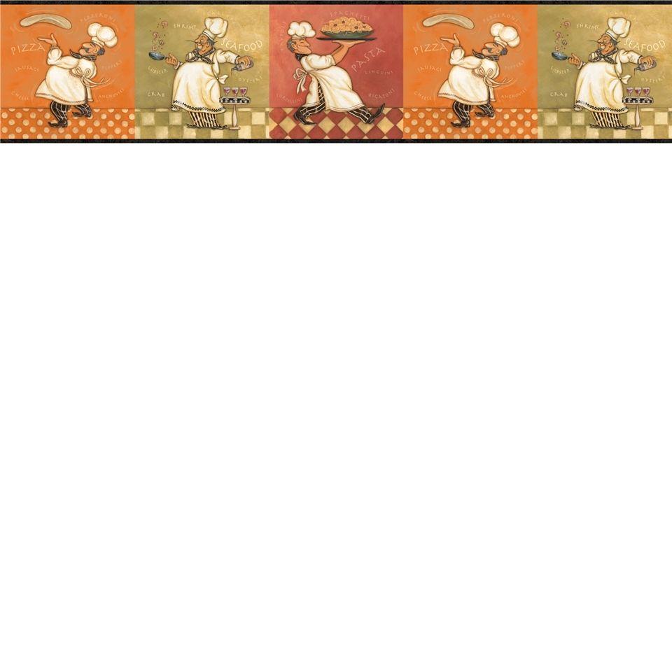 Italian Fat Chef Wallpaper Border KBE12641B Kitchen Decor Buon ...
