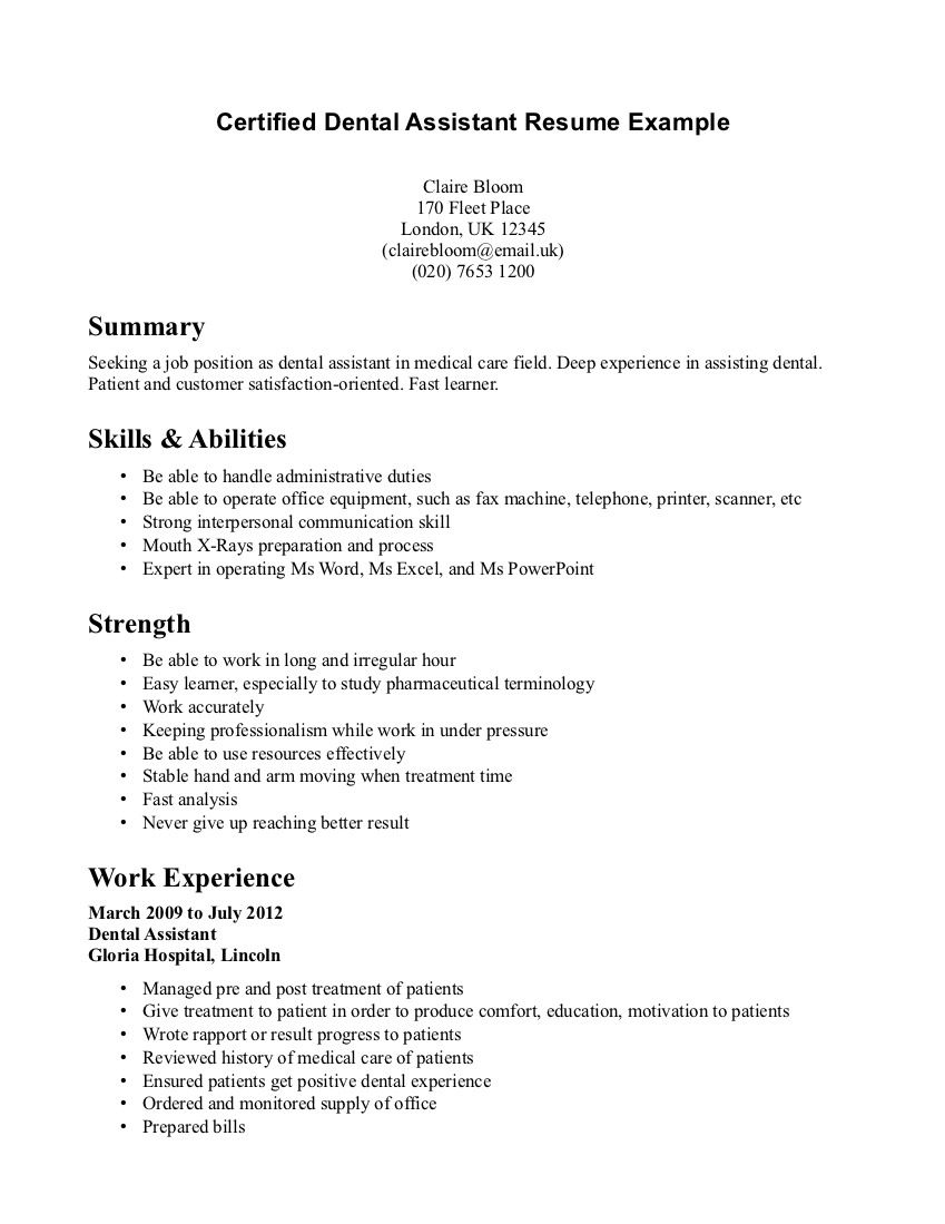Resume Sample For Dental Assistant Dental Assistant Resumes Examples Villa Chems