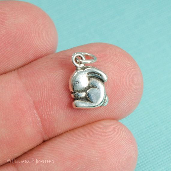 5 Silver Tone Lead-Free Pewter Charms Easter Bunny