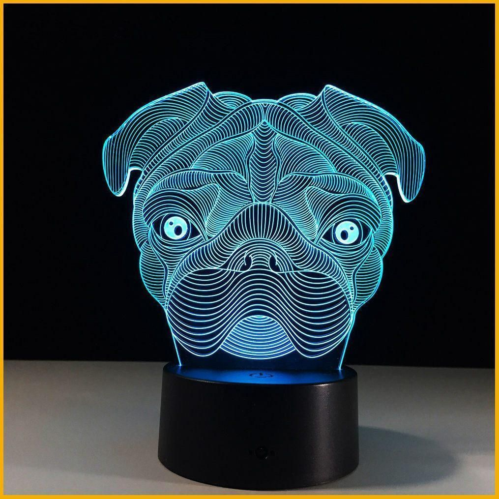 3d Illusion Pug Night Light Night Light Led Night Lamp Led Night Light