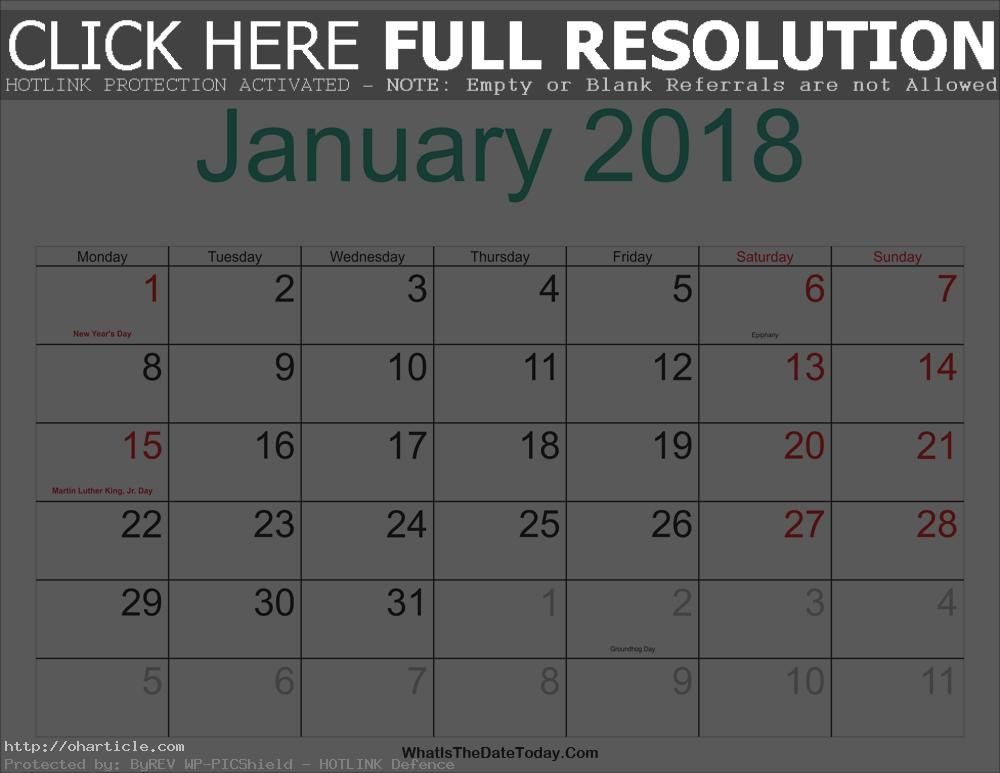 January 2018 Calendar Monday  #January 2018 Calendar Monday - sample academic calendar
