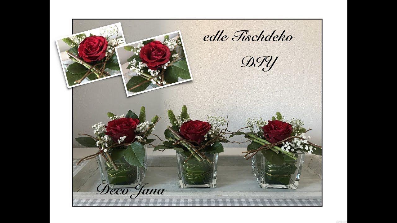 Diy Edle Rosendeko Hochzeitsdeko Tischdeko Blumendeko Selber