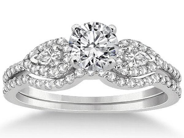 Diamond Engagement Ring Halo Pear Sides  & Wrap Wedding Band
