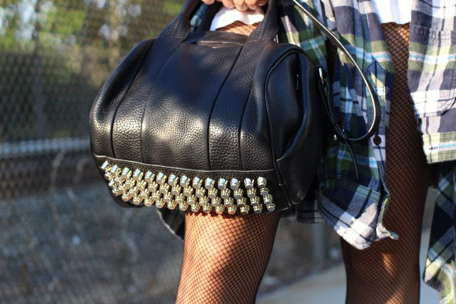 Vera wearing Alexander Wang Rocco (the classic studded bottom with pebbled leather).