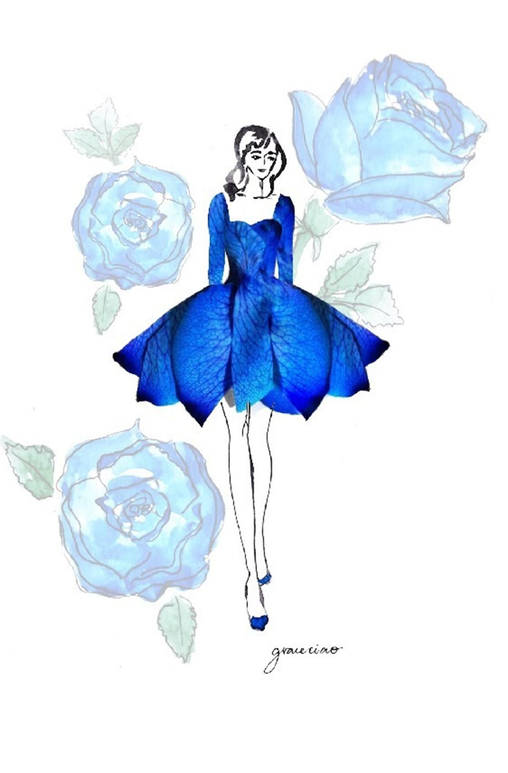 From Grace Ciao.Blue rose inspired ballet dress. | flower