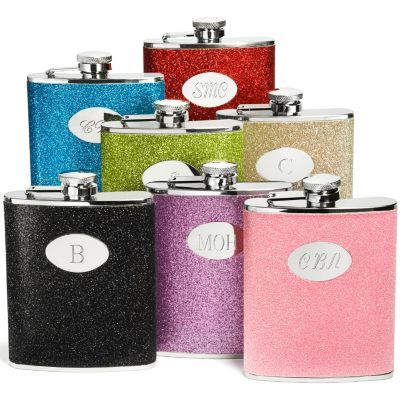 personalized glitter flasks sound like a great gift for my brides maid and maid of honor!!
