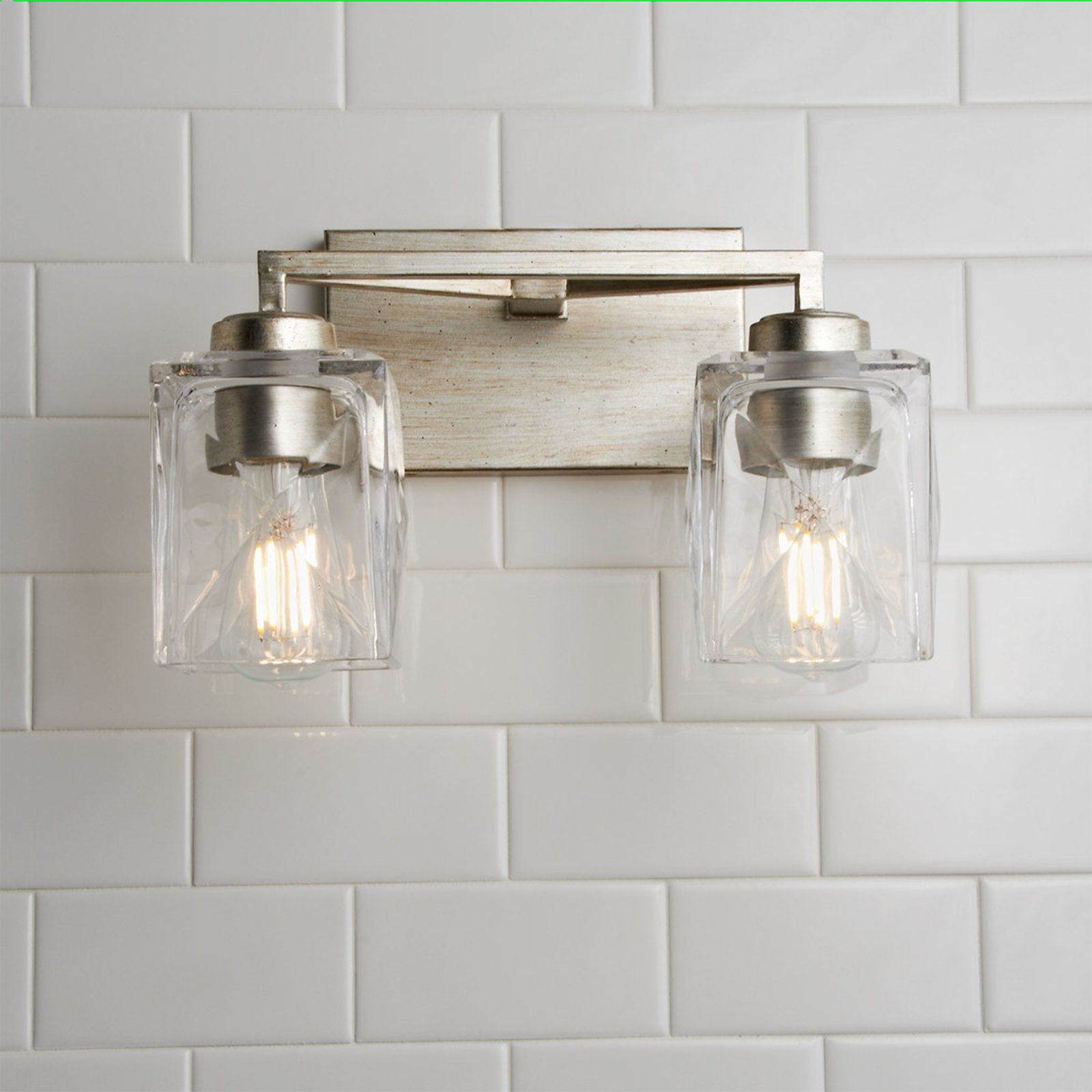 Faceted Square Glass Vanity Light 2 Light Shades Of Light Glass Vanity Vanity Lighting Rustic Light Fixtures