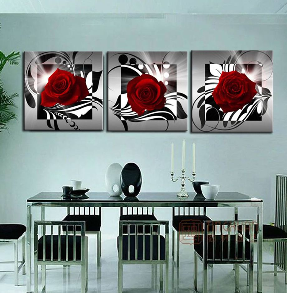 home decoration 3 piece canvas wall pictures print art oil painting flower onu2026