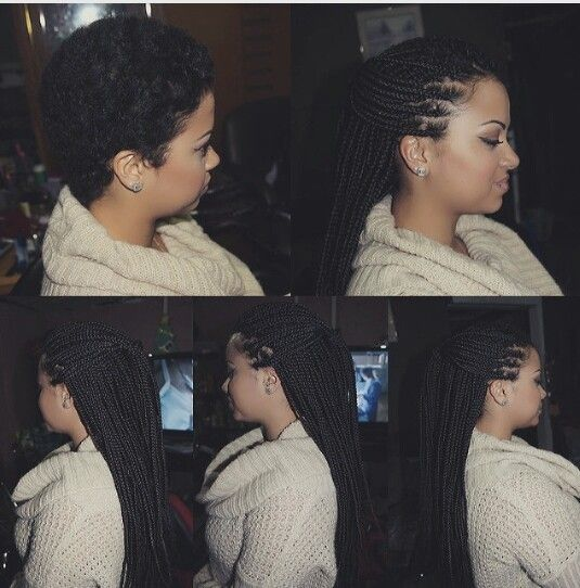 Before And After Small Long Box Braids On Short Hair