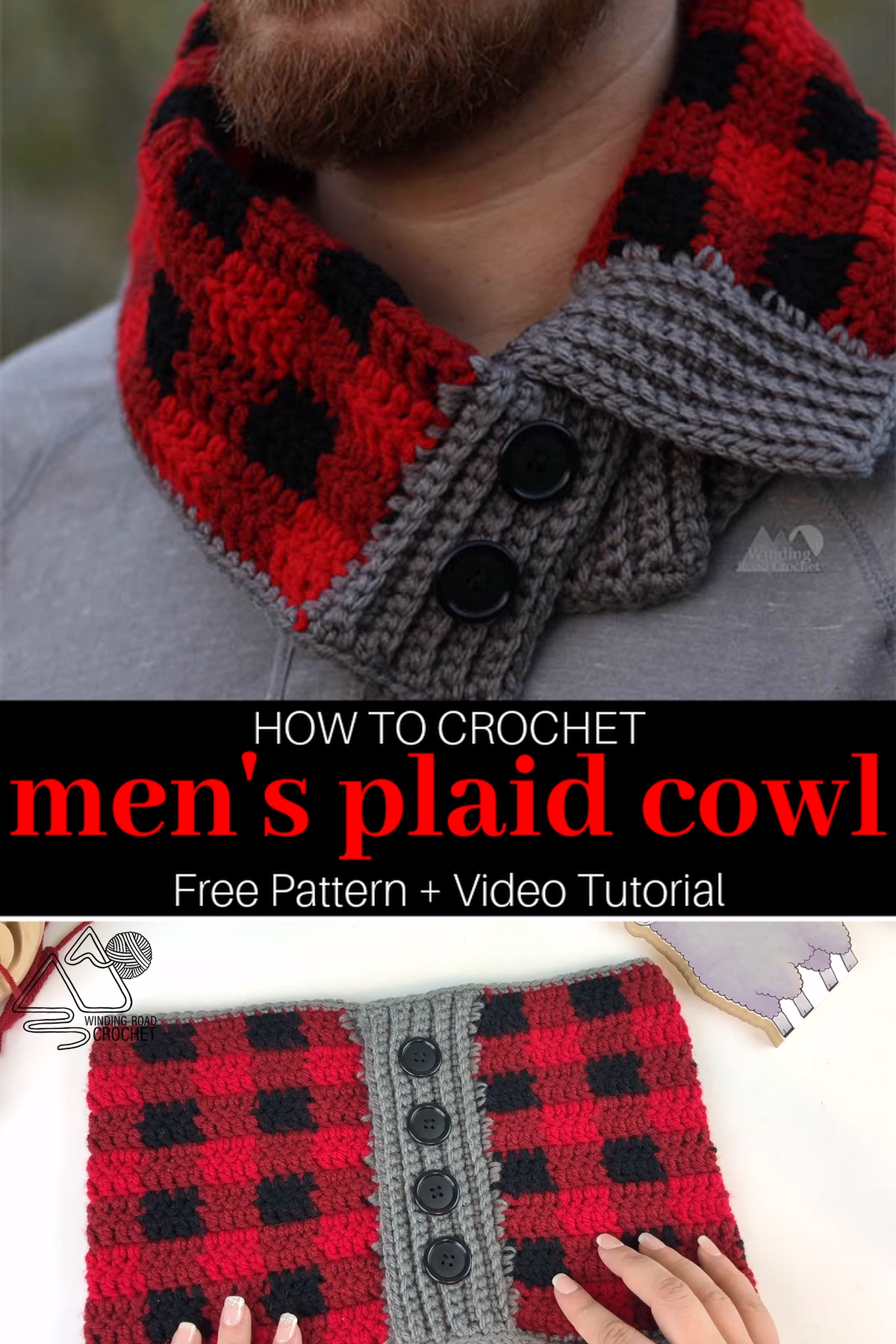 Easy Men's Plaid Cowl Crochet Pattern and Video Tutorial – bere atkı