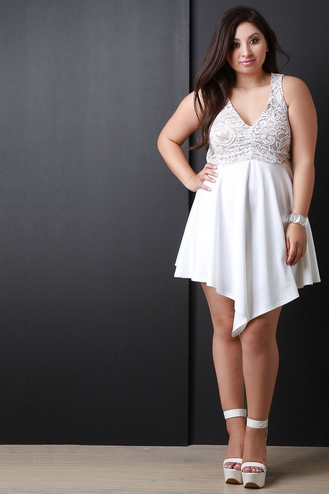 8d1883742bb8 Lace Bodice Sleeveless Angle Hem Fit And Flare Dress | Cute Dresses ...