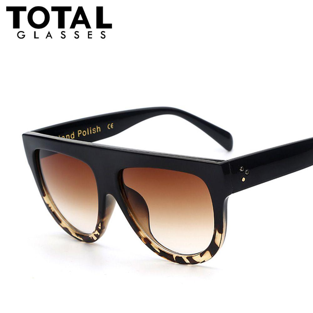 Pas cher Totalglasses surdimensionné plat lunettes De Soleil femmes mode  lunettes De Soleil Vintage hommes marque lunettes De Soleil femme Oculos,  ... ef8015a53a02