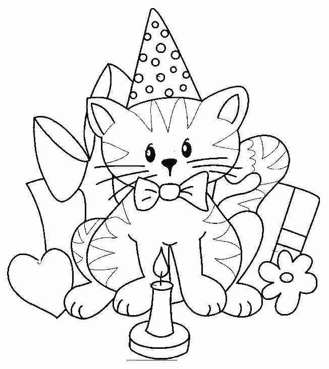geburtstag ausmalbilder katzen | Cat coloring page, Cat ...