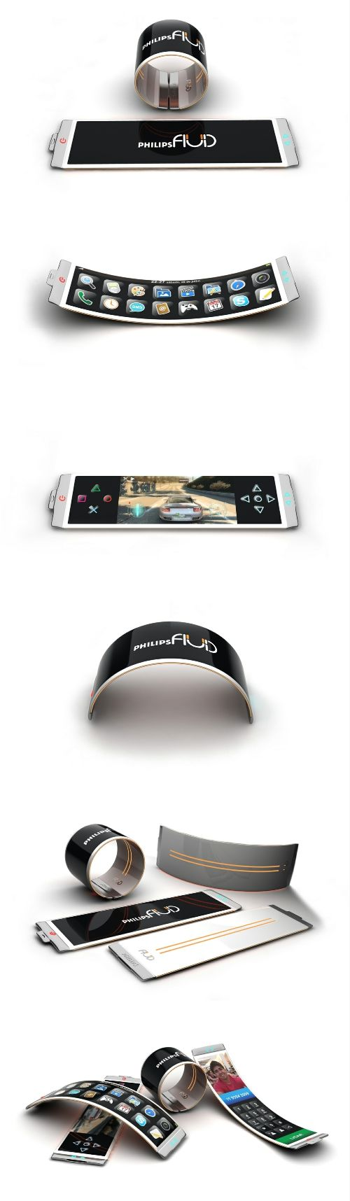 Slim bracelet phone  The advantages of organic light-emitting diode referred OLED, self-luminous nature, wide viewing angle, high contrast, low power consumption, high reaction rate, full-color, the process is simple. OLED display can be bent, has been applied in the design of electronic products. #lightemittingdiode