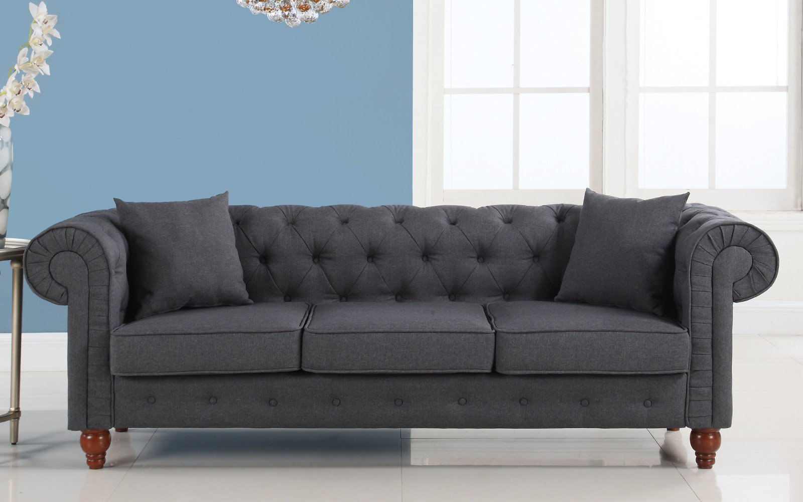 gray linen chesterfield sofa bensen sleeper reviews grey grace fabric