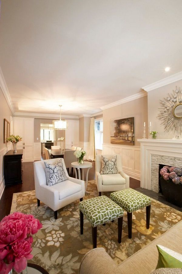 Elegant Living Room Design With White Chairs LIKE THE 2 SM ACALE CHAIRS AND  THE 2
