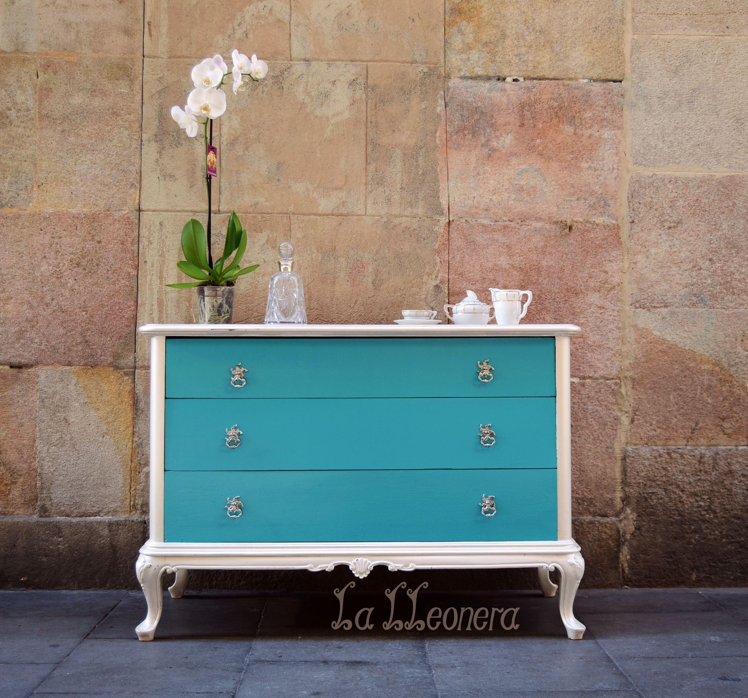 C Moda Turquesa Y Blanco Perla De Estilo Provenzal La Lleonera  # Muebles Turquesa