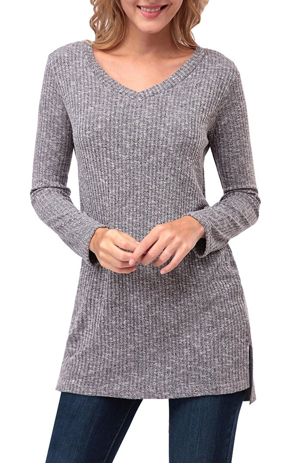 Zattcas Womens Tunic Sweater V Neck Long Sleeve Side Split Sweater ...