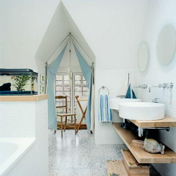 Maritime Badezimmer Deko Selbst Machen Blau Vorhang Rustikale Wandregale
