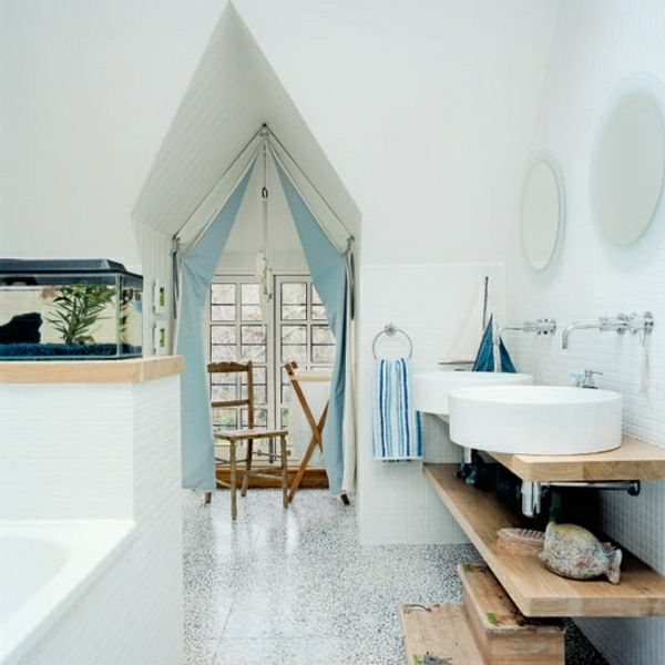 Hervorragend Maritime Badezimmer Deko Selbst Machen Blau Vorhang Rustikale Wandregale