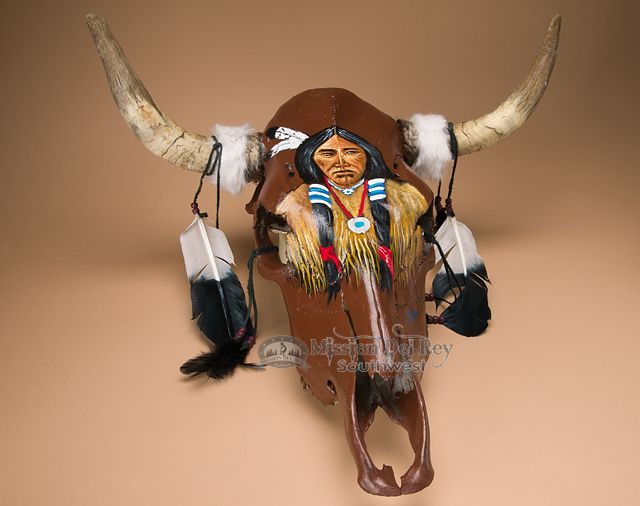 Antiqued Hand Painted Steer Skull 19x21 75 Indian Ps65