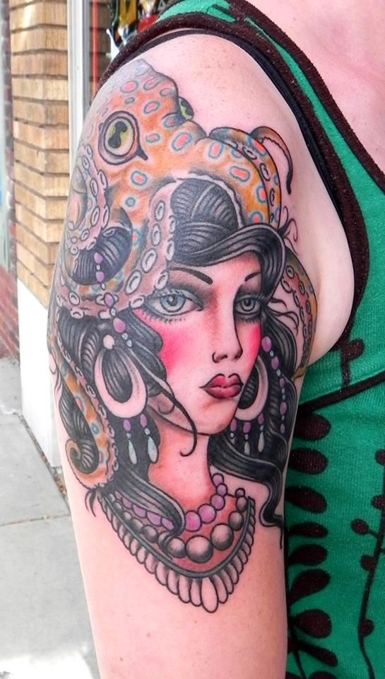 Gypsy lady with an octopus tattoo by jarred ehart lucky for Tattoo shops in wichita ks