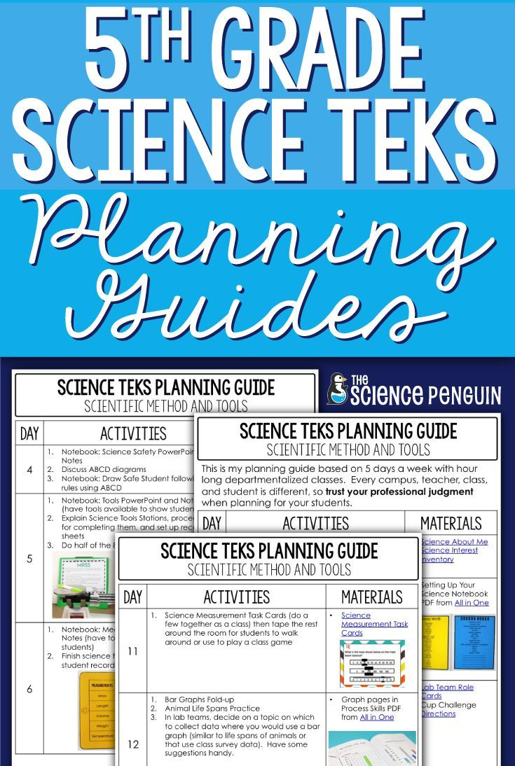 5th Grade Science Streamlined TEKS Planning Guides — The Science Penguin