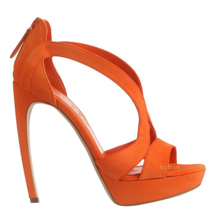 Alexander McQueen Orange Suede Armadillo Sandal