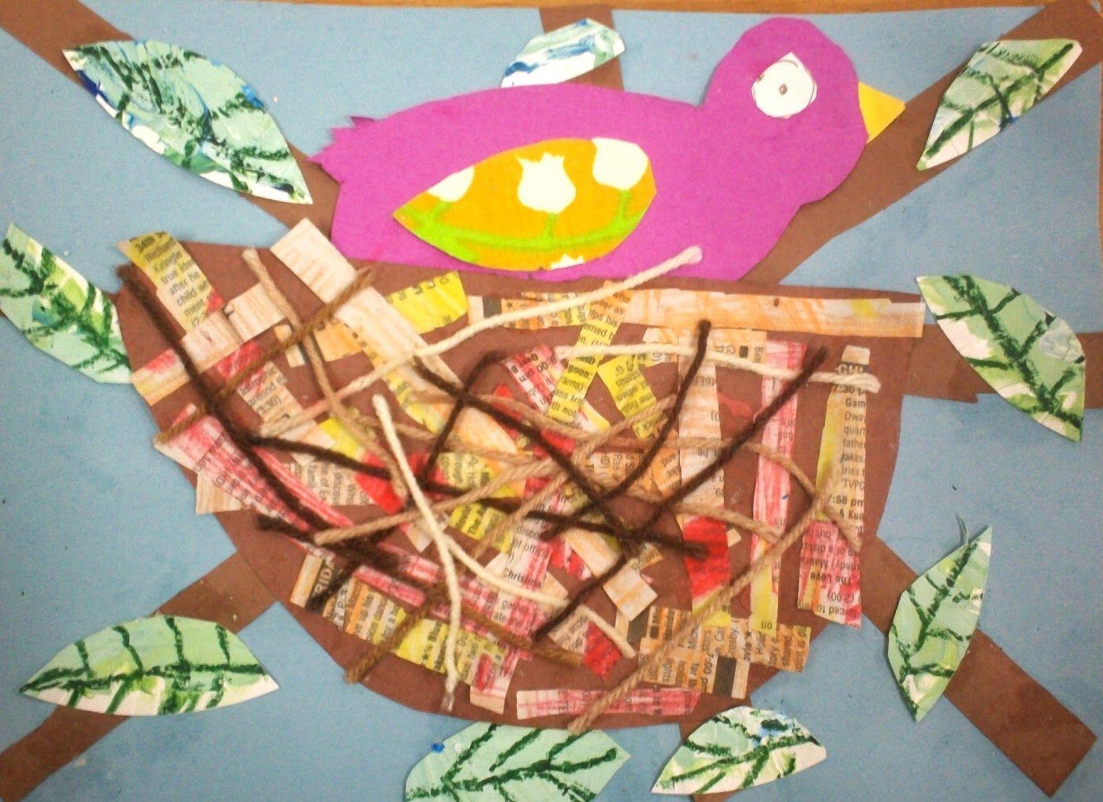 Mixed Media Bird Nests 1st Grade