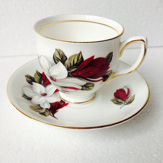Red and white flower tea cup and saucer set vintage english bone red and white flower tea cup and saucer set vintage english bone china by duchess made in england mightylinksfo
