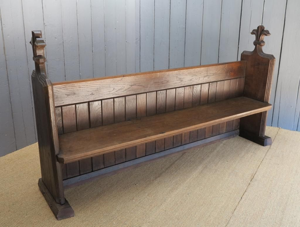 Antique Large Reclaimed Solid Oak Church Pew 86 1 2 Inches Long Oak Church Pew Oak Church